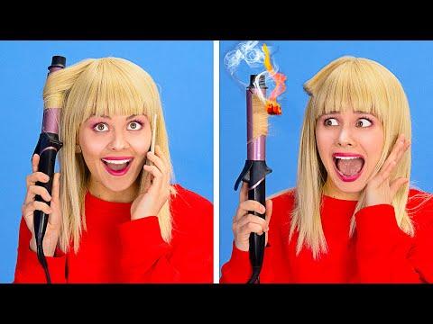 ПРОБЛЕМЫ ДЛИННЫХ И КОРОТКИХ ВОЛОС || Ежедневные трудности и смешные ситуации с волосами от 123 GO!