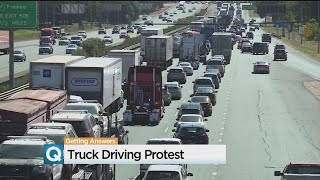Truckers Protest New Electronic Logbook Requirements With