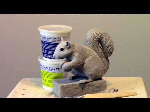 Squirrel Sculpture made with Free Form Sculpt Epoxy Clay - YouTube