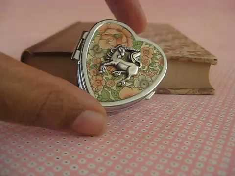 Unicorn Music Box Locket Somewhere Over the Rainbow