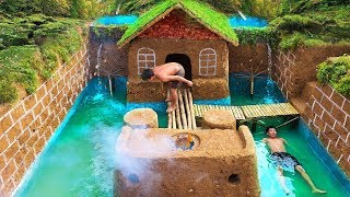 72Days Build Swimming Pool Around The Most Beautiful Underground House With Ancient Skills
