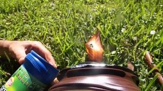 Start a Fire with Coffee and Potato Chip containers Solar vacuum reflector