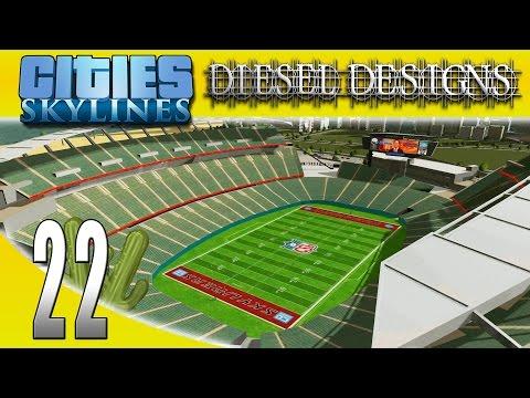 Cities: Skylines: S6E22: NFL Football Stadium! (City Building Series)