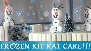 FROZEN KIT KAT Cake w/ Marshmallow Olaf & Frozen Icicle Jelly Beans! Easy! Inspired by Disney Movie