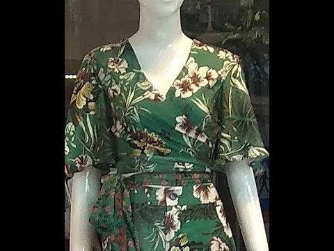 Hướng dẫn cắt áo cổ tim chéo, tay xòe rủ 90. How to make women's shirts.