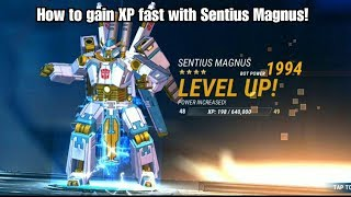 Sentius Magnus Gameplay: How to level fast and on a budget!  Transformers Earth Wars