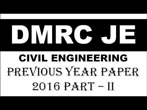 DMRC 2016 FULL PAPER CIVIL ENGINEERING Part -2 || हिंदी में
