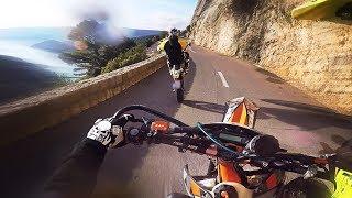 SUPERMOTO RACE on a dangerous mountain road..
