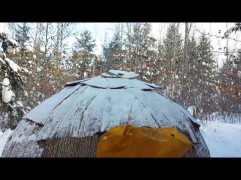 Starting a fire in a winter wigwam