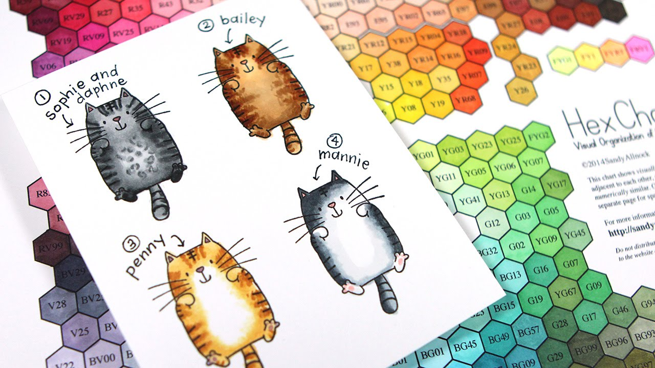 What color is your cat? Coloring cats with Copic Markers (plus Hex Chart)