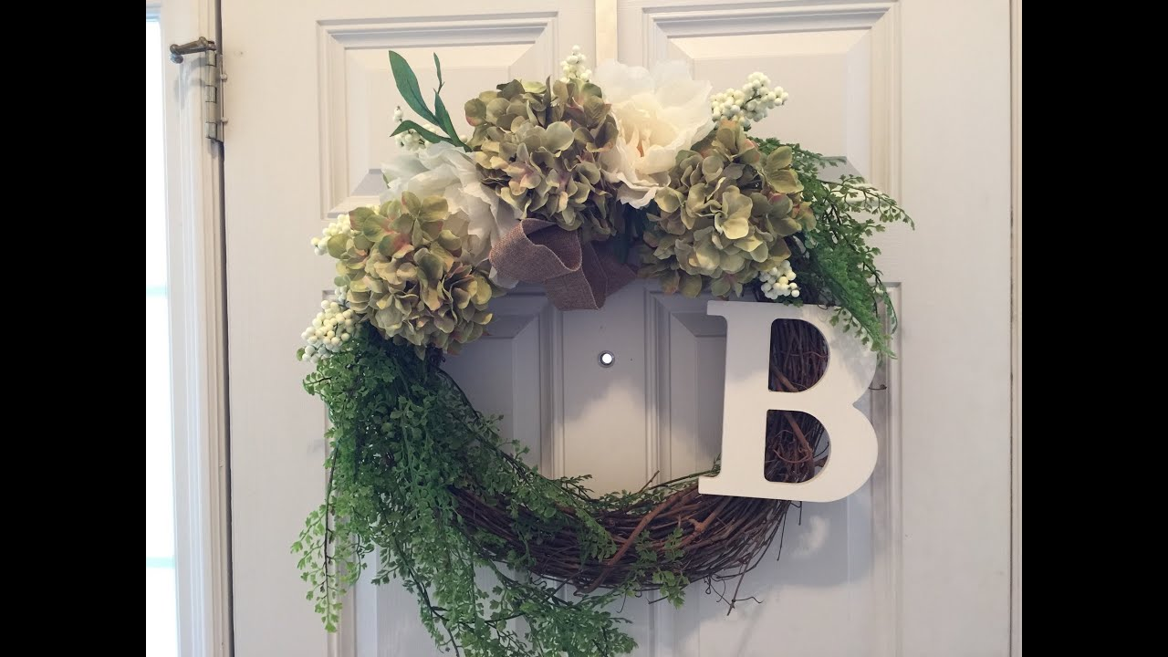 2eec782fb Flower Door Wreath DIY - less than 10 minutes!! - YouTube