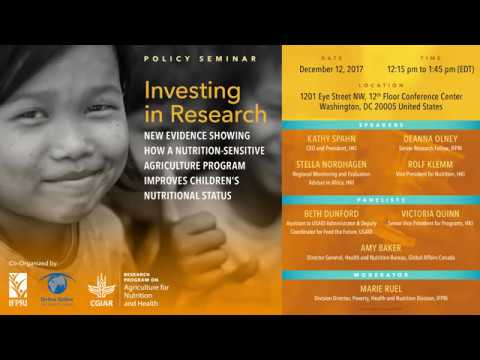 Investing in Research - Marie Ruel, Division Director, Poverty, Health and Nutrition Division, IFPRI