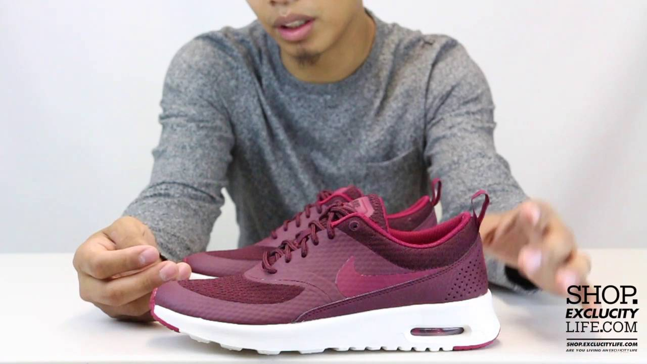 buy popular 77ecf 348de Womens Air Max Thea TXT Night Maroon Unboxing Video at Exclucity