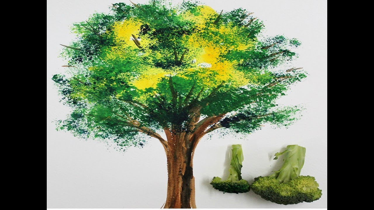 Easy Tree Painting For Kids With Vegetables