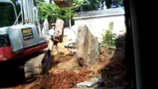 Stone Whale Japanese Garden, installing boulder number 7.