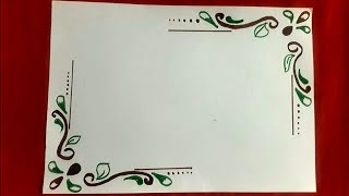 How to make easy floral corner border| easy page flower border design for assignments,School project