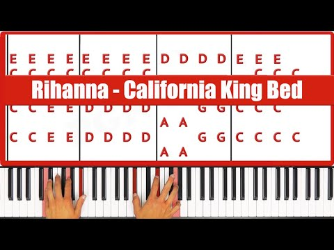 California King Bed Rihanna Piano Tutorial - EASY