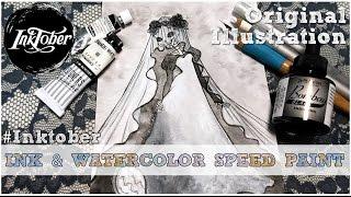Inktober 2016 Day 14 Skeleton Bride Watercolor Speed Paint