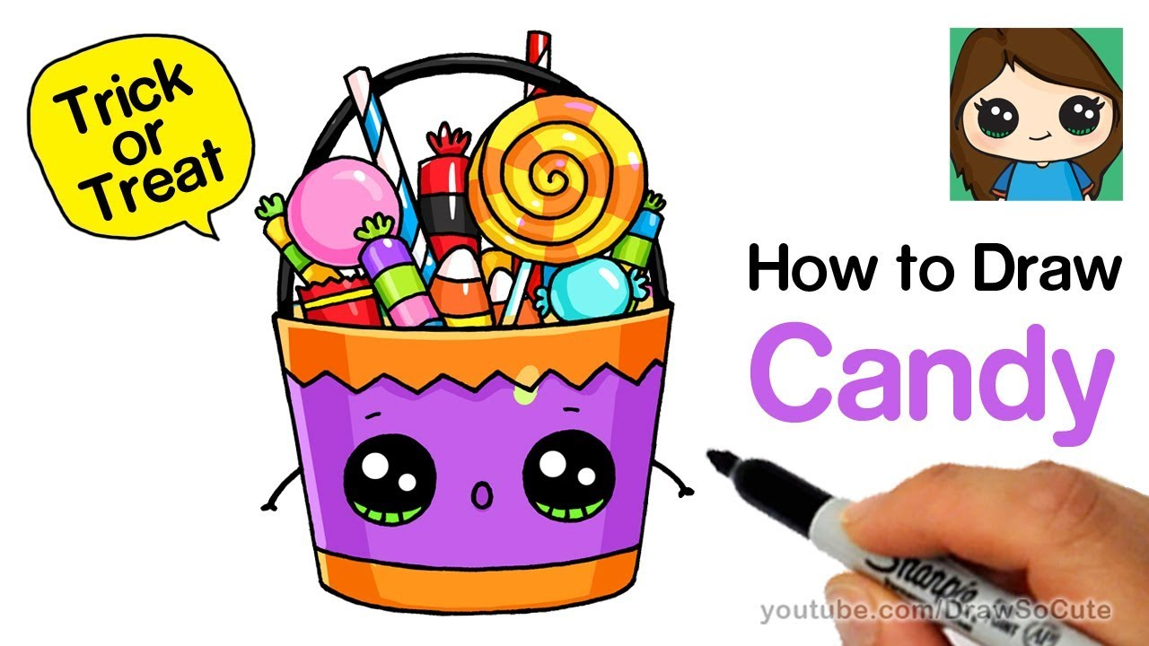 How To Draw A Trick Or Treat Candy Bucket Easy So Cute