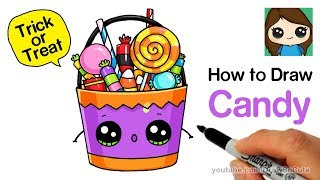 How to Draw a Trick or Treat Candy Bucket Easy