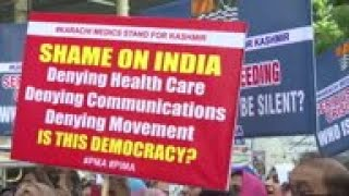 Medical staff stage anti-India protest in Karachi