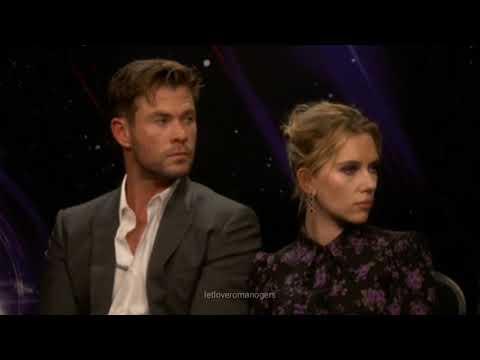 Chris Hemsworth letting Scarlett Johansson lean on him during Avengers Endgame Interview