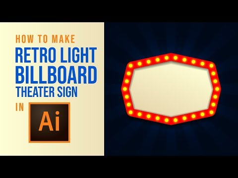 Retro Light Cinema/Theater Billboard Sign - Adobe Illustrator Tutorial thumbnail
