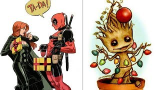 30+ Funny Christmas Comics with Superheroes & Others. 2017 Marvel & DC