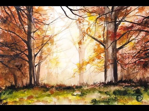 Watercolor Red Forest Light Painting Demonstration