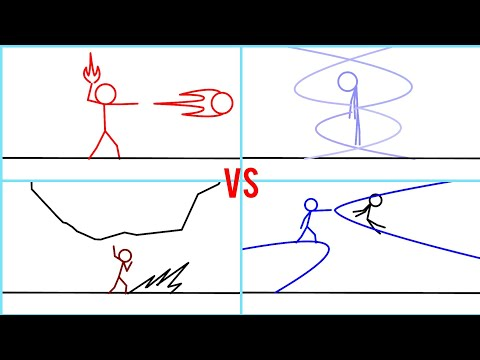 Fogo vs água vs vento vs pedra, luta stick fighter animação