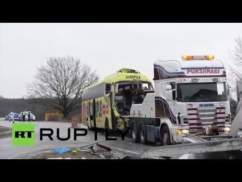 Estonia: One dead, 13 injured as bus crashes on way to Riga
