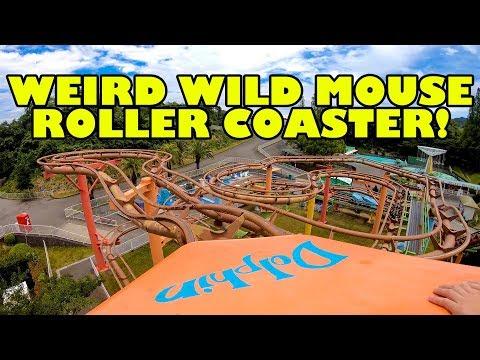 Weird Wild Mouse Roller Coaster! Front Seat Onride POV Misaki Park Japan