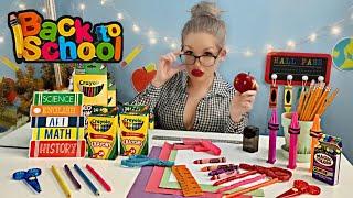 ASMR TEACHER ROLE PLAY BACK TO SCHOOL THEME EATING SCHOOL SUPPLIES