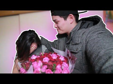 【サプライズ】20才の誕生日にバラ100本プレゼントしたら泣いて喜んでくれた..................。(泣)