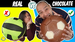 CHOCOLATE VS REAL!! Chocolate vs Realidad  DESAFÍO DE COMIDA REAL VS DE CHOCOLATE 3! Jordi vs Bego
