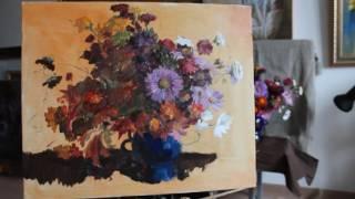 Осенние цветы. Натюрморт. Живопись.