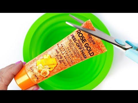 Will It Slime? Testing Peel off ROSE GOLD GLITTER Face Mask! No Glue Slime DIY
