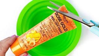 Will It Slime? Tesтing Peel off ROSE GOLD GLITTER Face Mask! No Glue Slime DIY