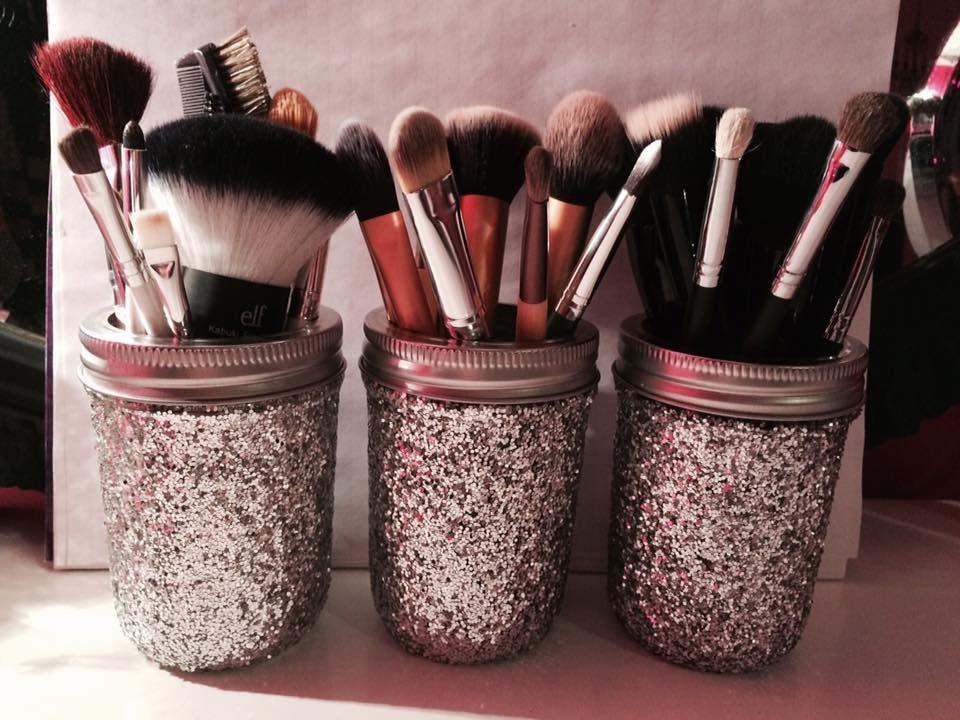 Diy Glitter Mason Jar Brush Holders Logan Lynn Youtube