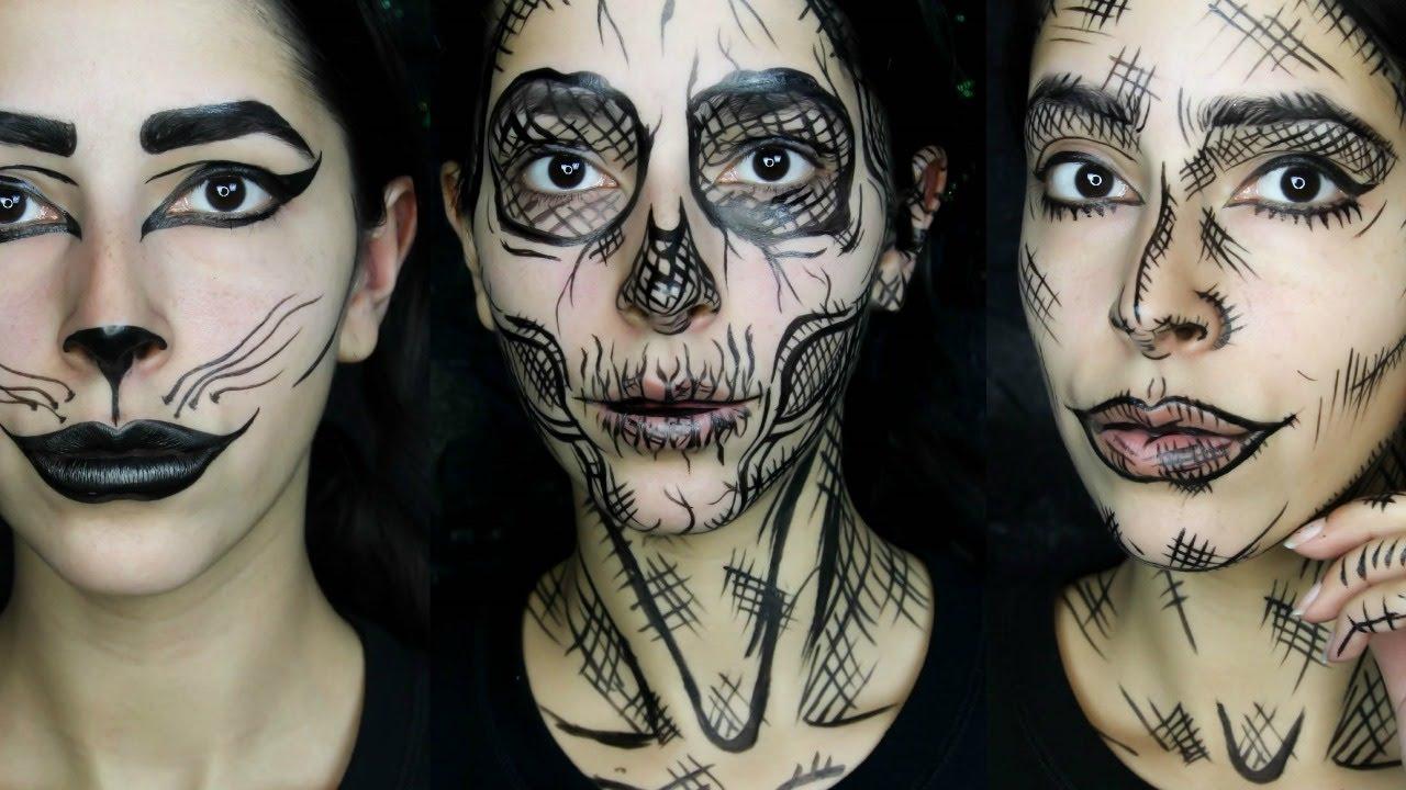 Last Minute Halloween Makeup Looks Using 1 Makeup Product - YouTube