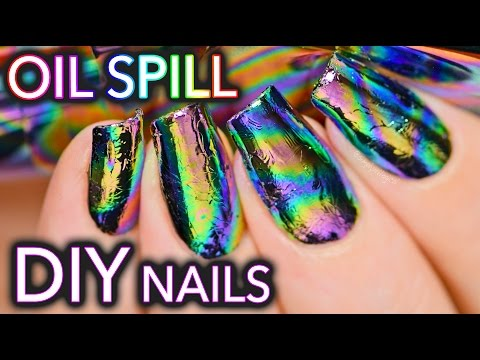 DIY Oil Spill / Oil Slick Nail Art