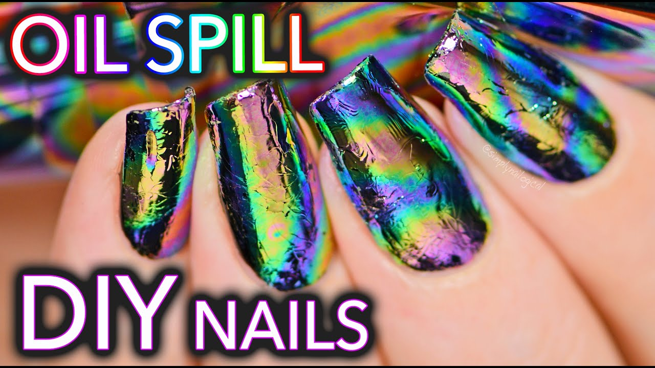 DIY Oil Spill / Oil Slick Nail Art - YouTube