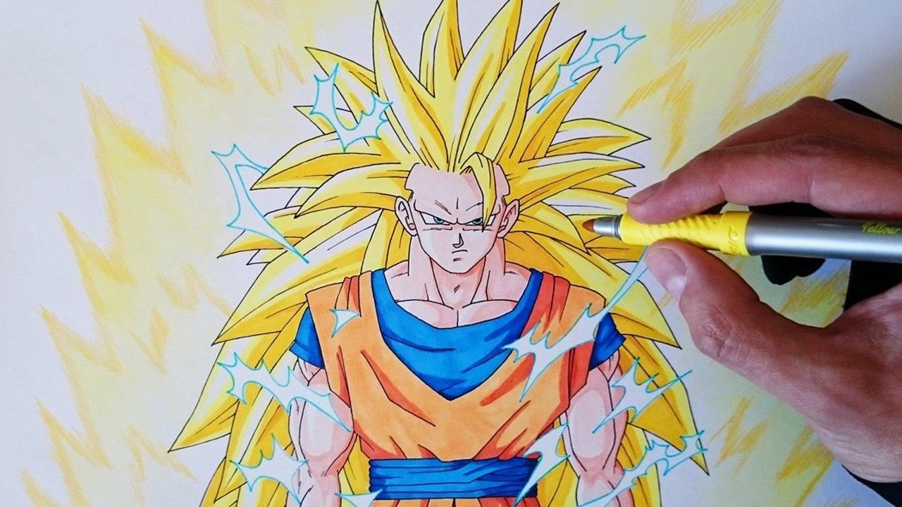 Cómo dibujar a Goku SSJ3 paso a paso - How to draw Goku SSJ3 #1