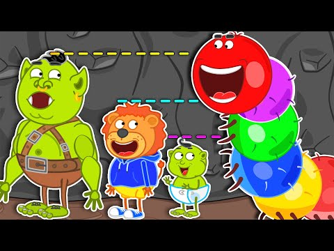 Lion Family 🌴 Journey to the Center of the Earth #46. Wants to be Taller & Jump | Cartoon for Kids