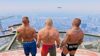 GTA 5 Randy Orton John Cena Brock Lesnar RKO Mod! #2(GTA V WWE Fail Funny moments)
