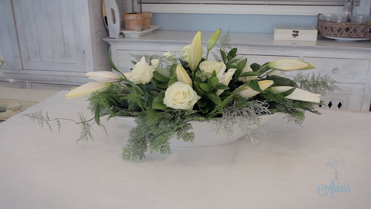 Elongated Rose & Lily Wedding Table Centrepiece Floristry Tutorial ...