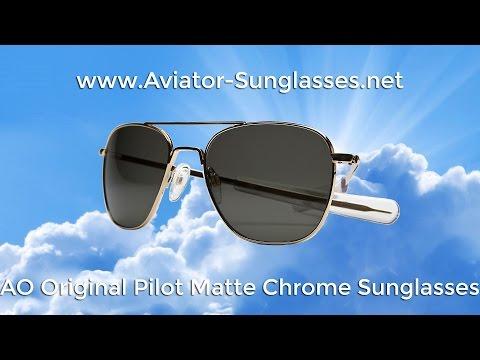 AO Original Pilot Matte Chrome Frame Aviator Sunglasses