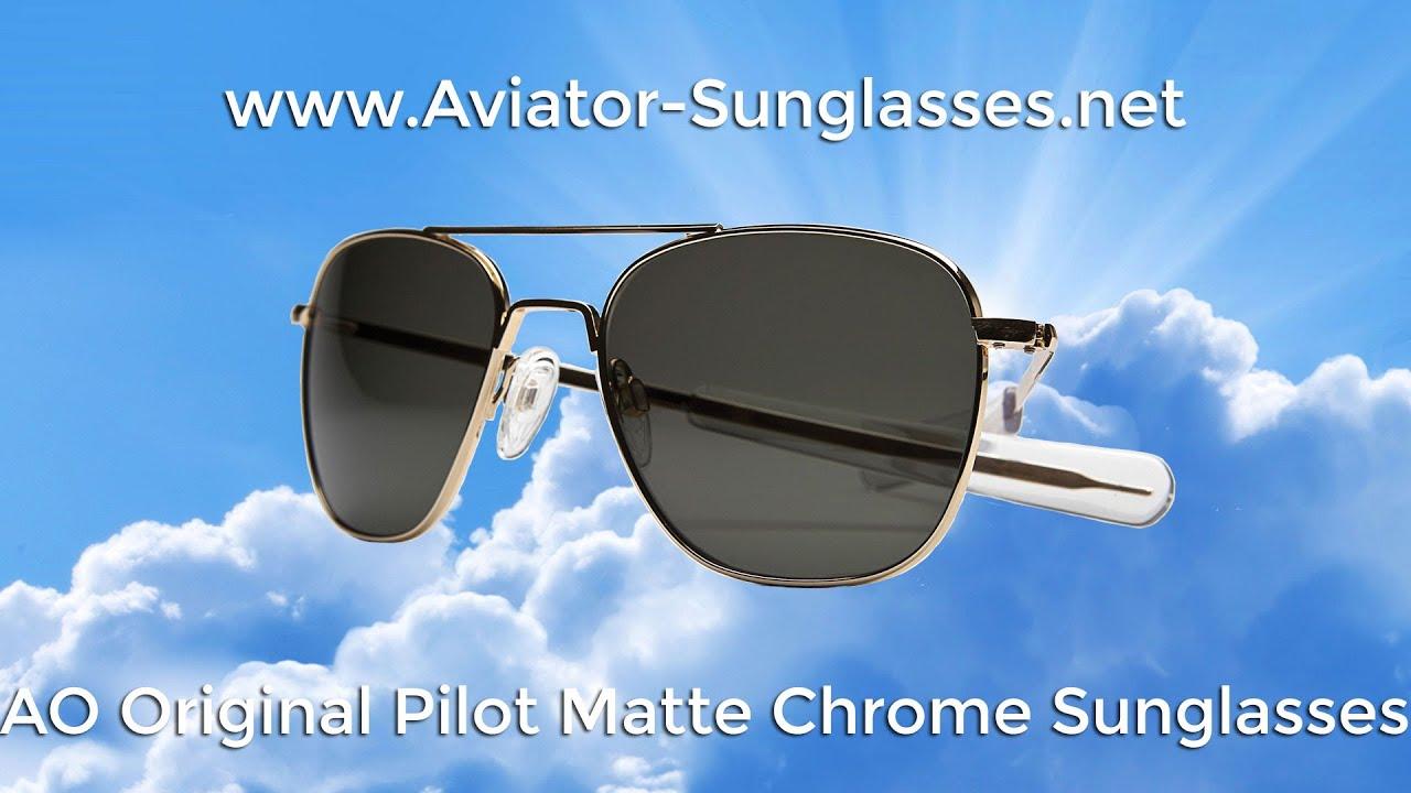 American Optical AO pilote Original Mat Chromé Couleur Correct Gray non-Polarized