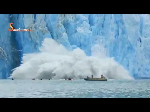 Shocking huge glacier calving creates massive tsunami wave 2017 | shock wave