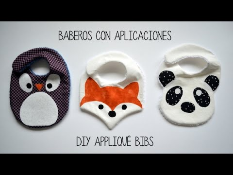 Baberos con aplicaciones - DIY appliqué bibs